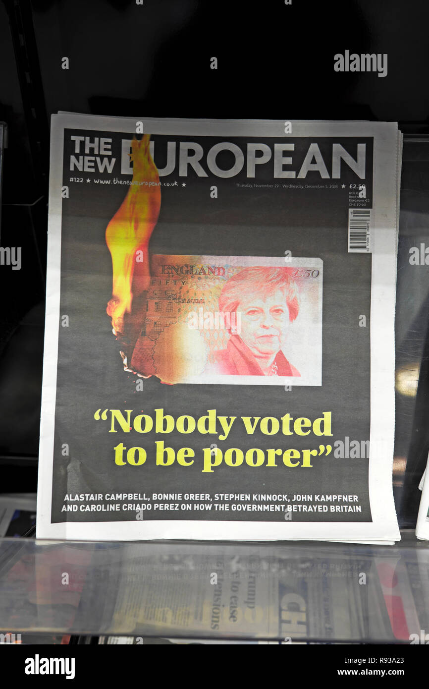 "The New European newspaper headline ""Nobody voted to be poorer"" anti Brexit Theresa May front page November December 2018  London England UK Stock Photo"