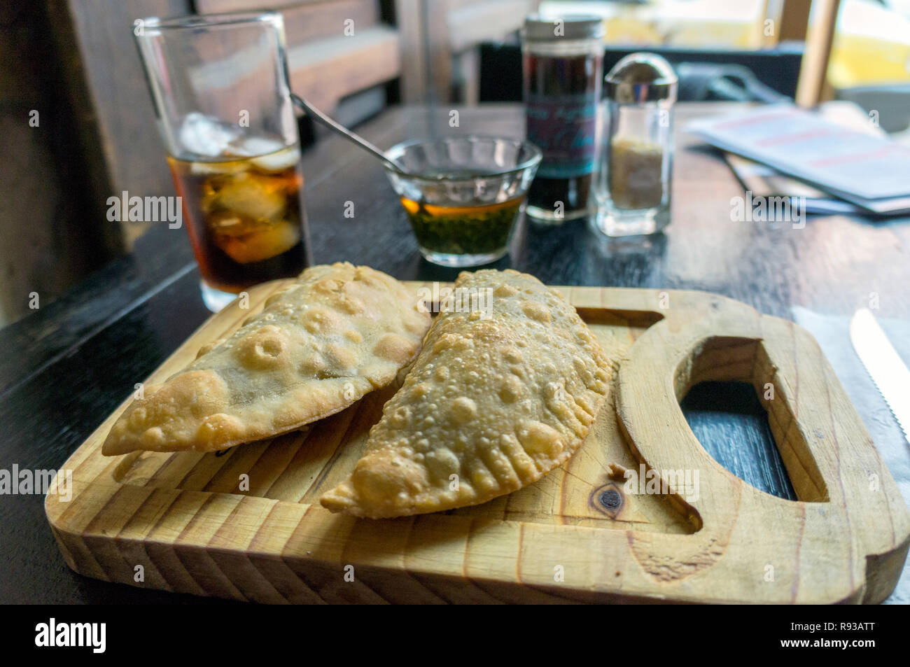 Mexican Food, Latin American, Traditional baked pastry Empanadas with meat Stock Photo