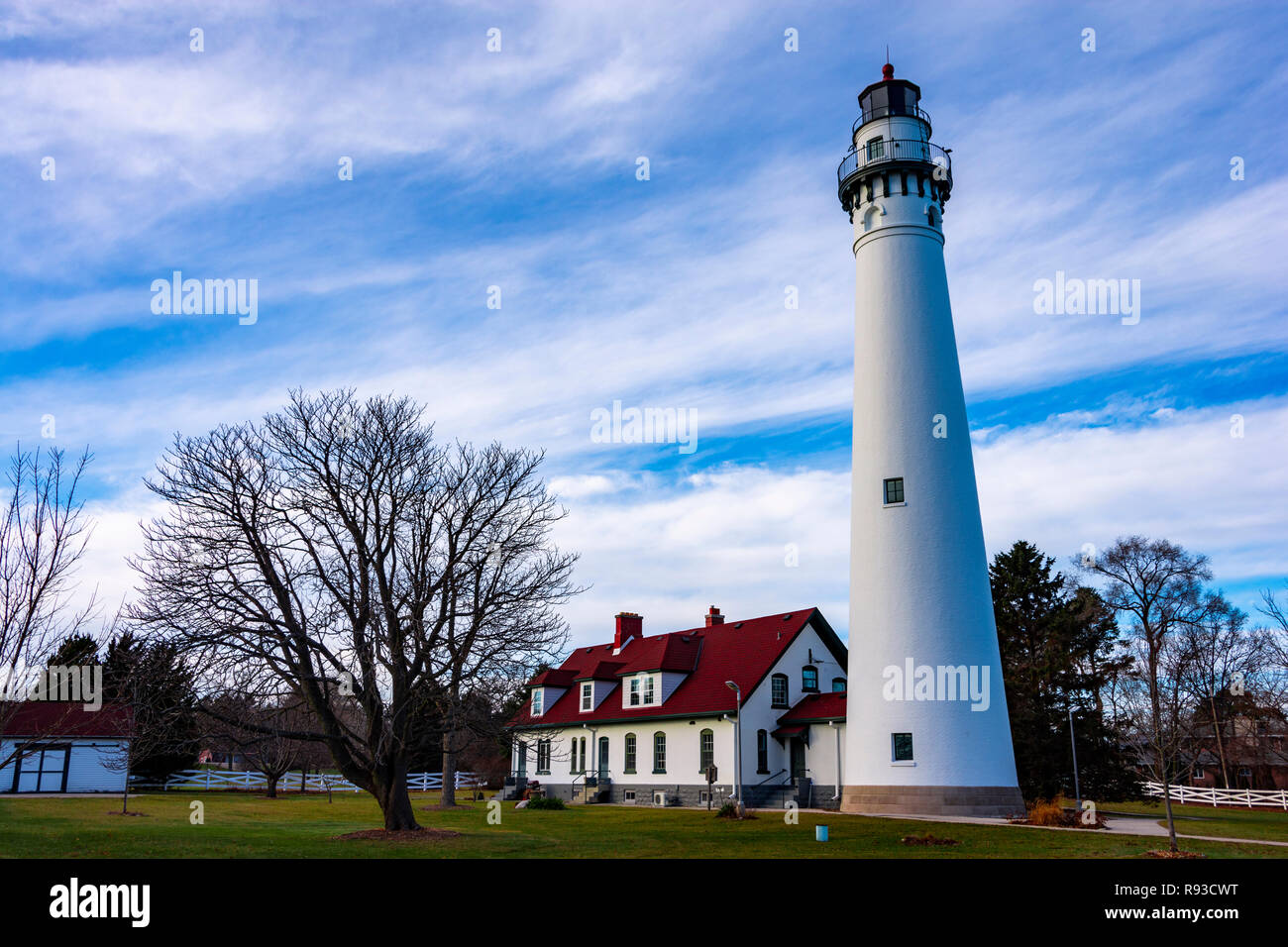 Daylight shot of the Wind Point Lighthouse in Wind Point, WI, United States. - Stock Image