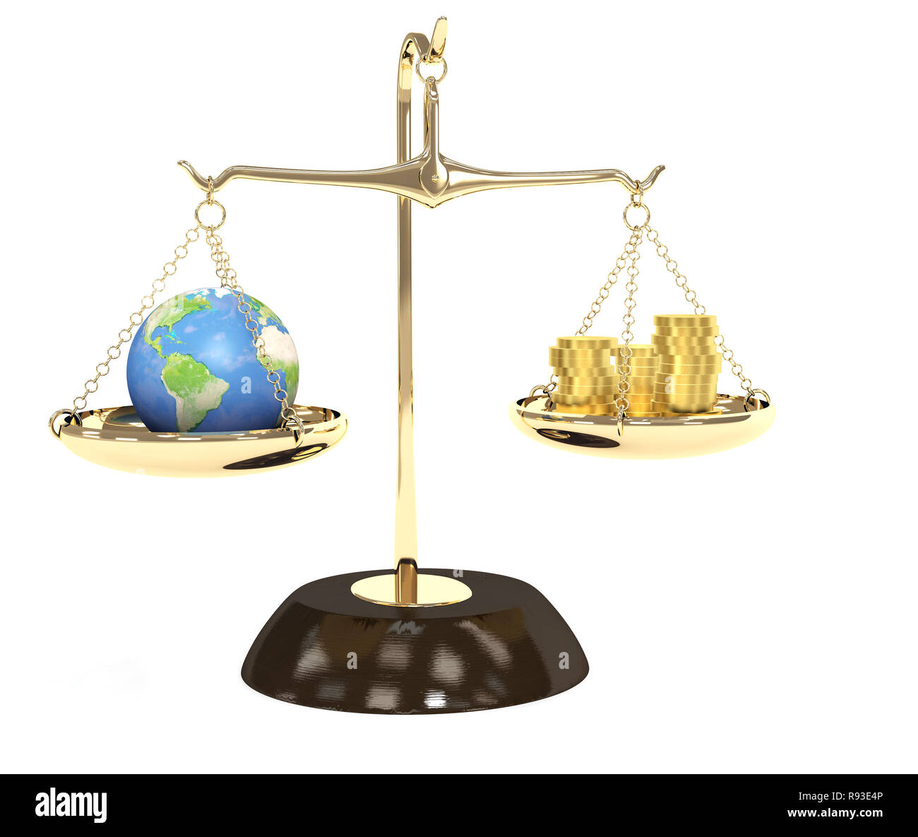 Concept - Earth and money on measurement scales - Stock Image