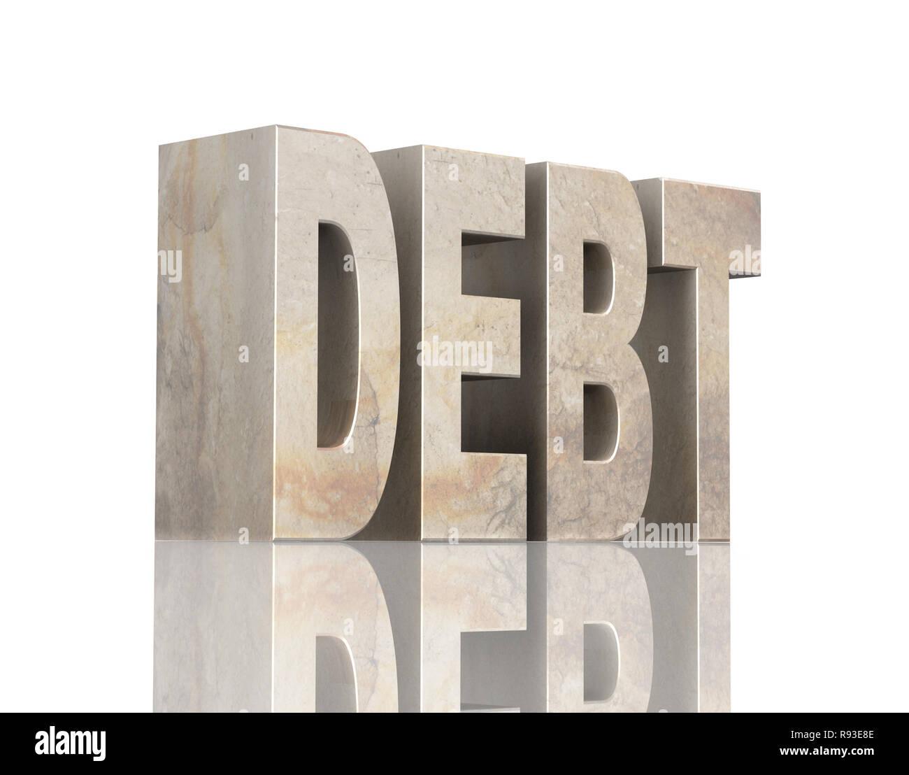 Debt. Stone text - Stock Image