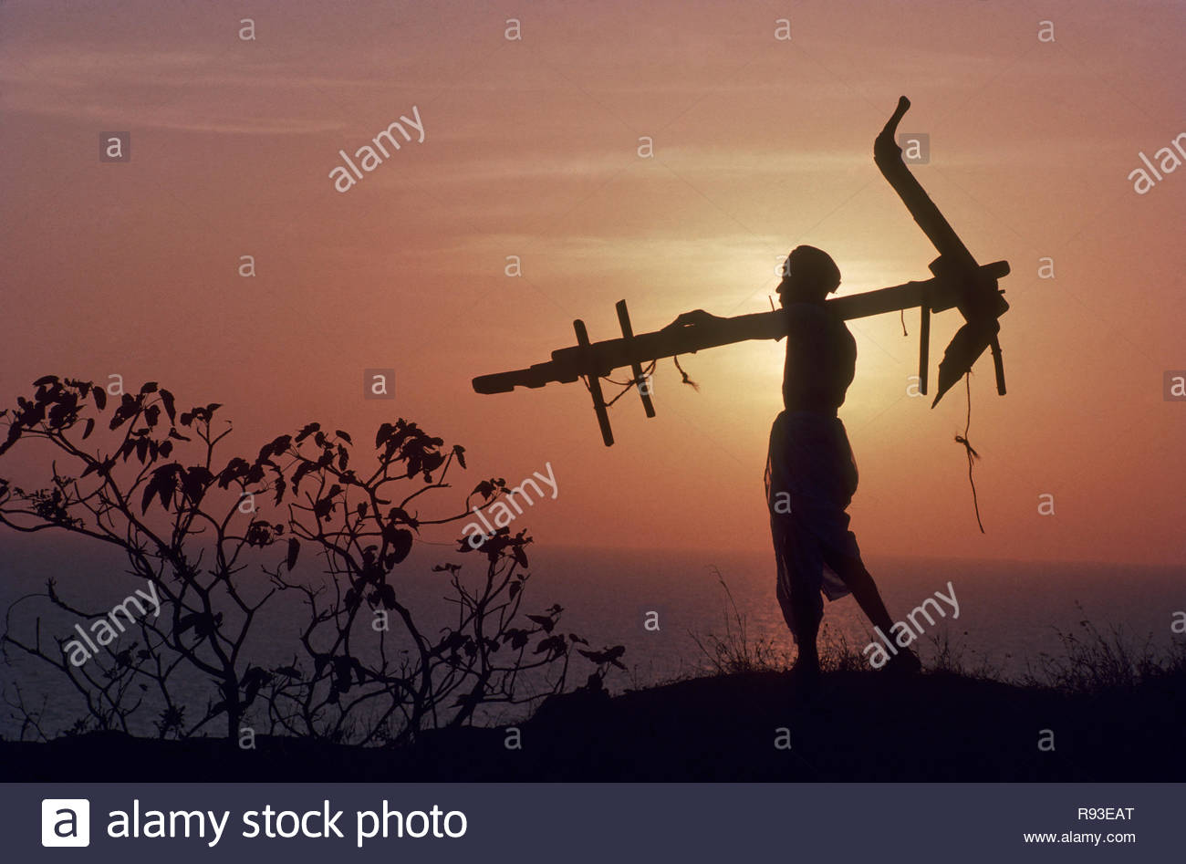 Farmer holding plough returning home at evening India - Stock Image