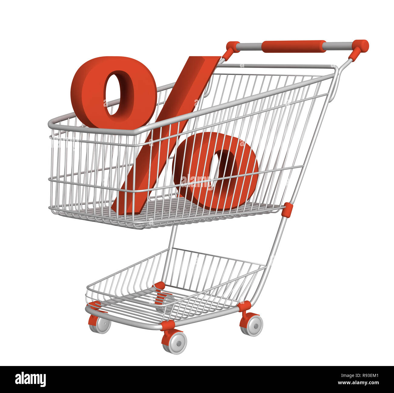 Symbol of percentage in shopping cart. Isolated over white - Stock Image