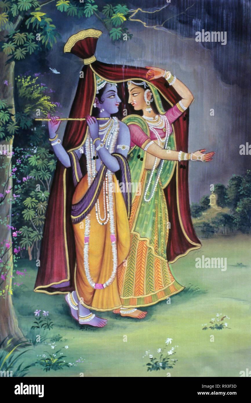 Radha Krishna Paintings - Stock Image