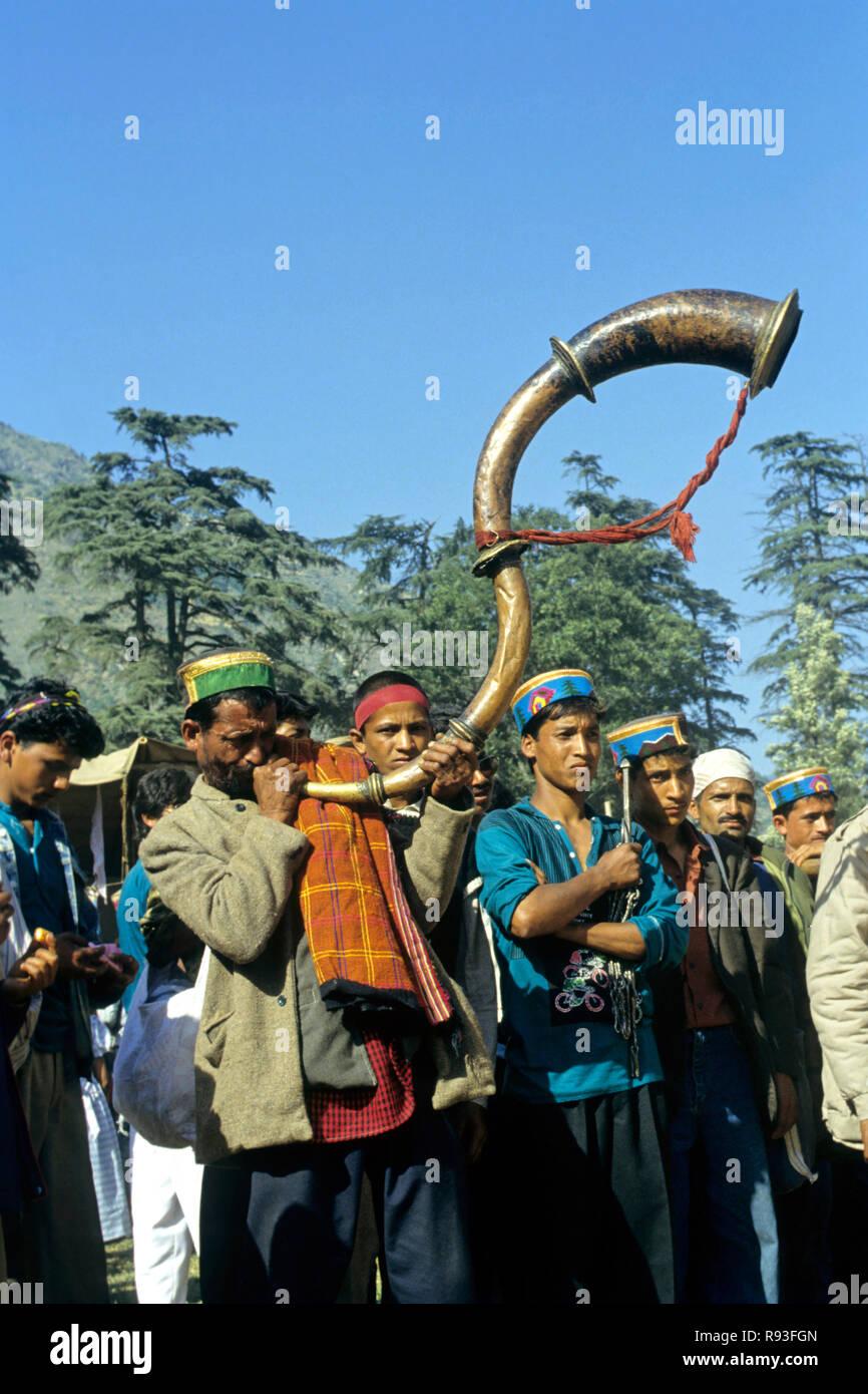 kulu dassera trumpet played, himachal pradesh, india - Stock Image