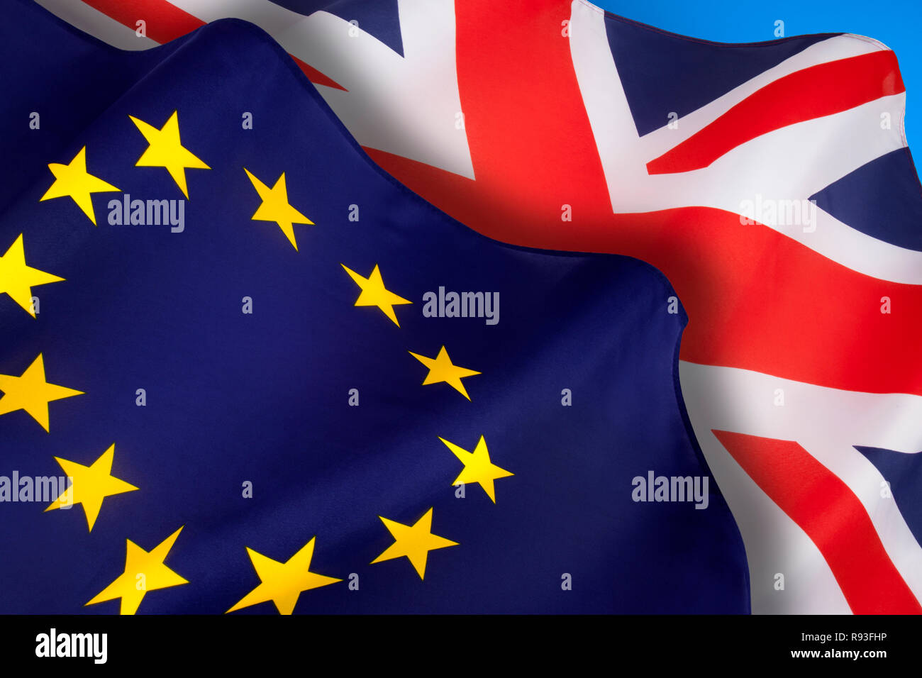 The flags of the United Kingdom of Great Britain and Northern Ireland and the European Union. Brexit. - Stock Image