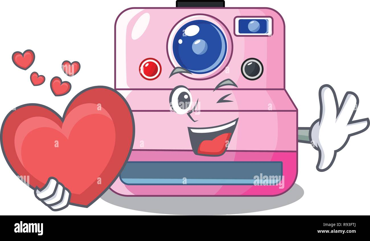 With Heart Instant Camera In A Shape Character Stock Vector Art