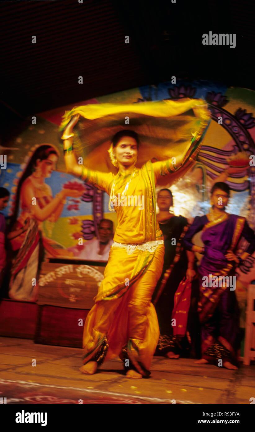 Maharastrian Folk Dance Lavani India Stock Photo