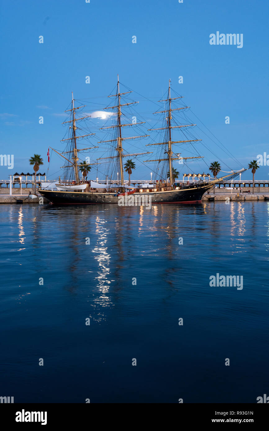 Georg Stage, a three-masted full-rigged Danish training tall ship, Alicante port, Costa Blanca,Spain - Stock Image