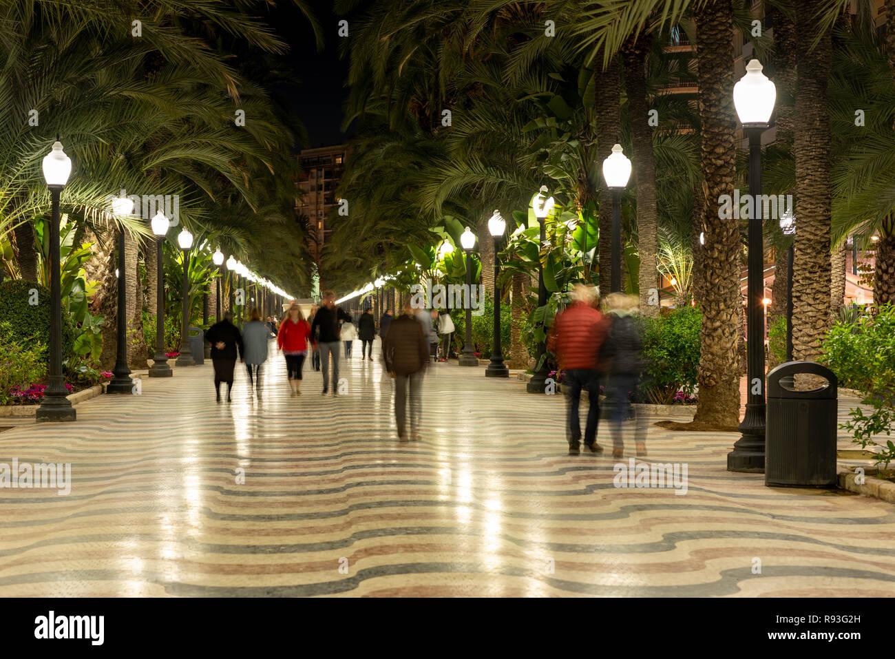Explanada de España promenade at night, Alicante city, Costa Blanca, Spain - Stock Image