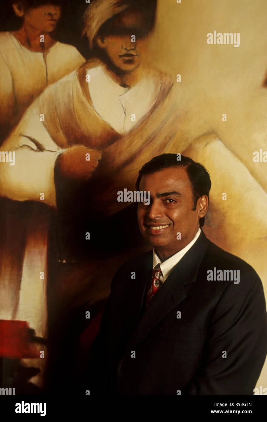 south Asian Indian businessman Mukesh ambani, chairmen of reliance industry, India, NO MR - Stock Image