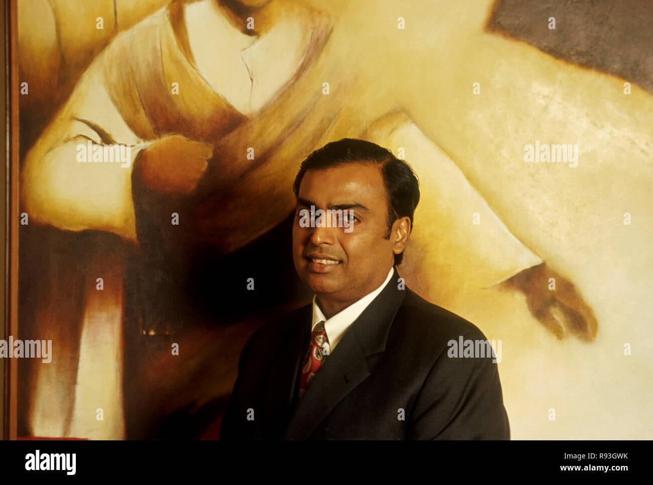 south asian indian businessman and chairman of reliance industry Mr. Mukesh Ambani, India NO MR - Stock Image