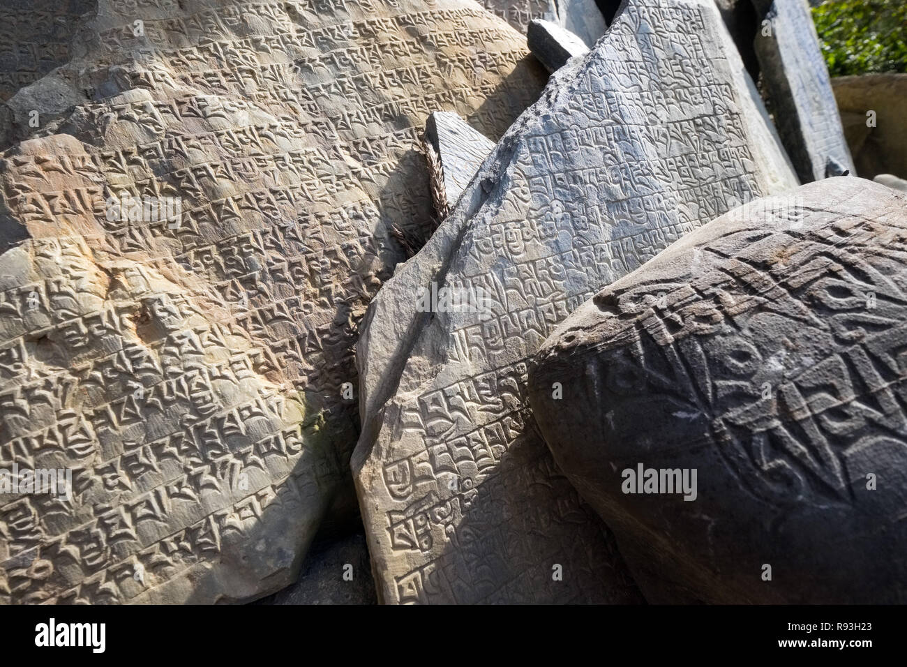 Mani stones inscribed with Buddhist mantra on a Mani Wall in the Manaslu region of Nepal - Stock Image
