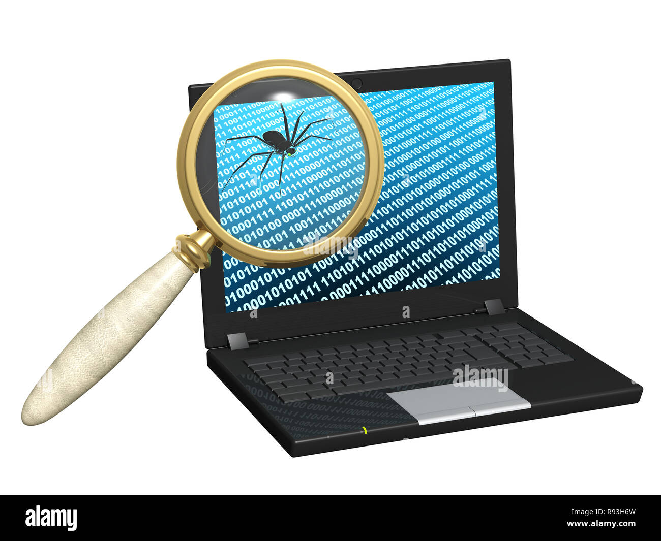 Penetration into a computer of a virus from Internet - Stock Image
