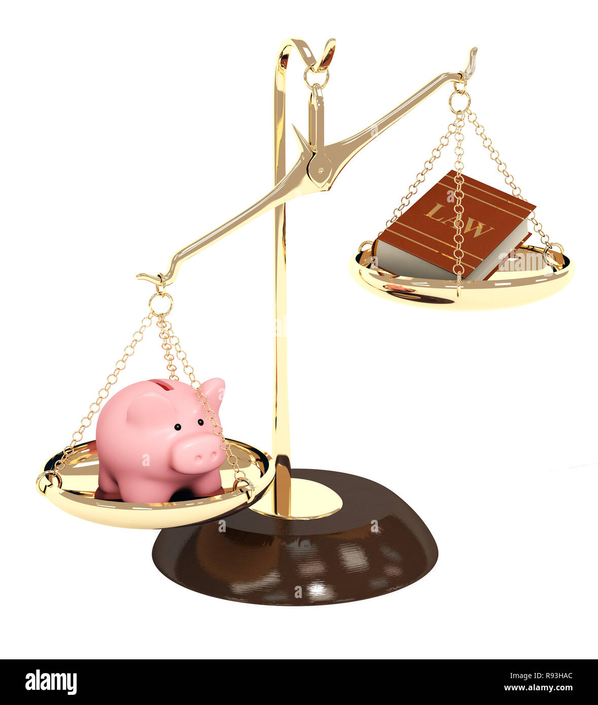 Piggy bank, gold scales and code of laws. Objects isolated over white - Stock Image