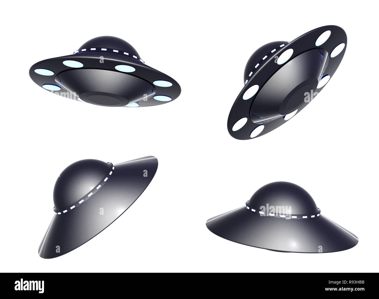 Collection UFO. Objects isolated over white - Stock Image