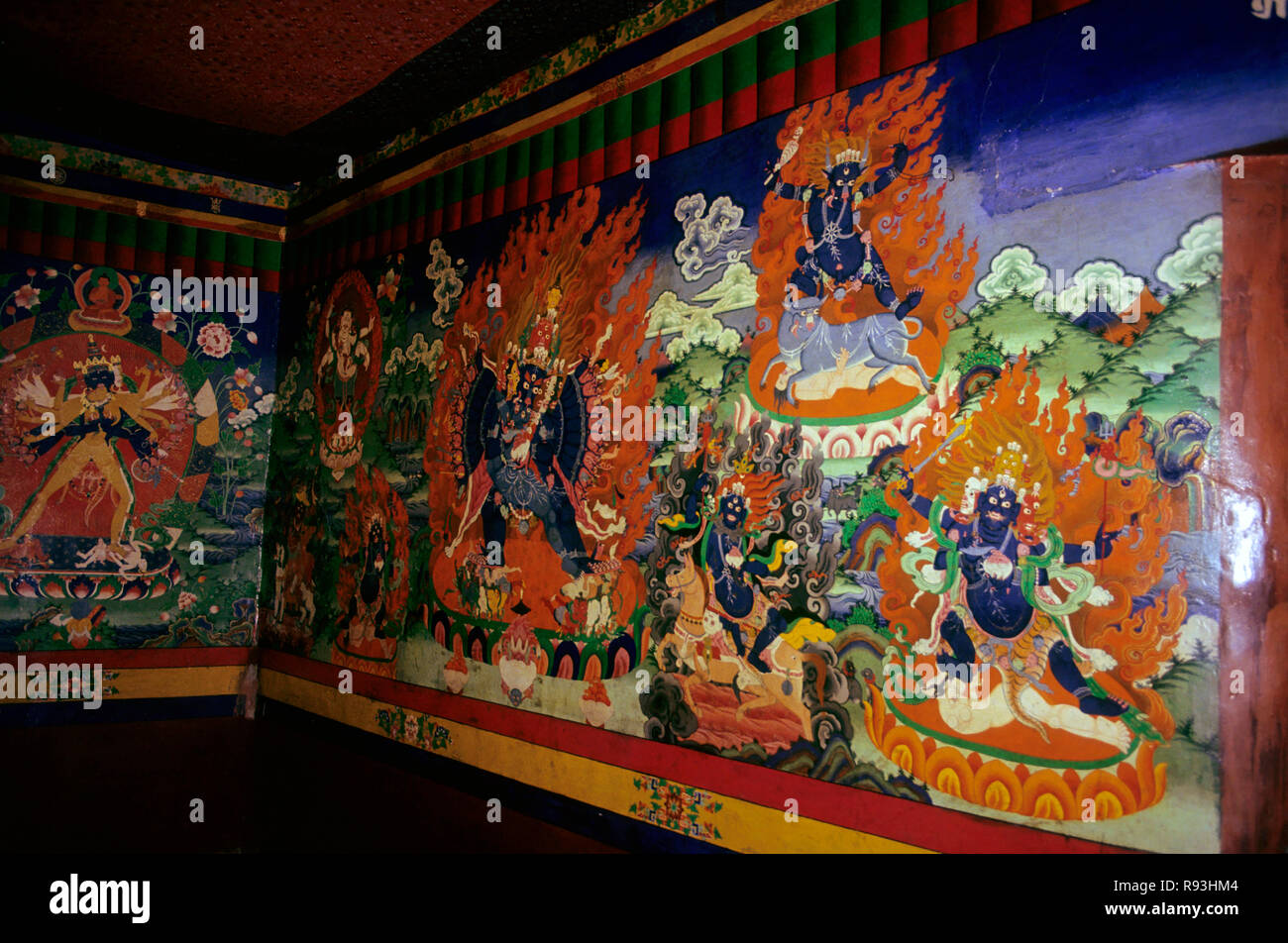 Wall Painting at the Spituk Gompa 900 years old the head gompa, leh, ladakh, india - Stock Image