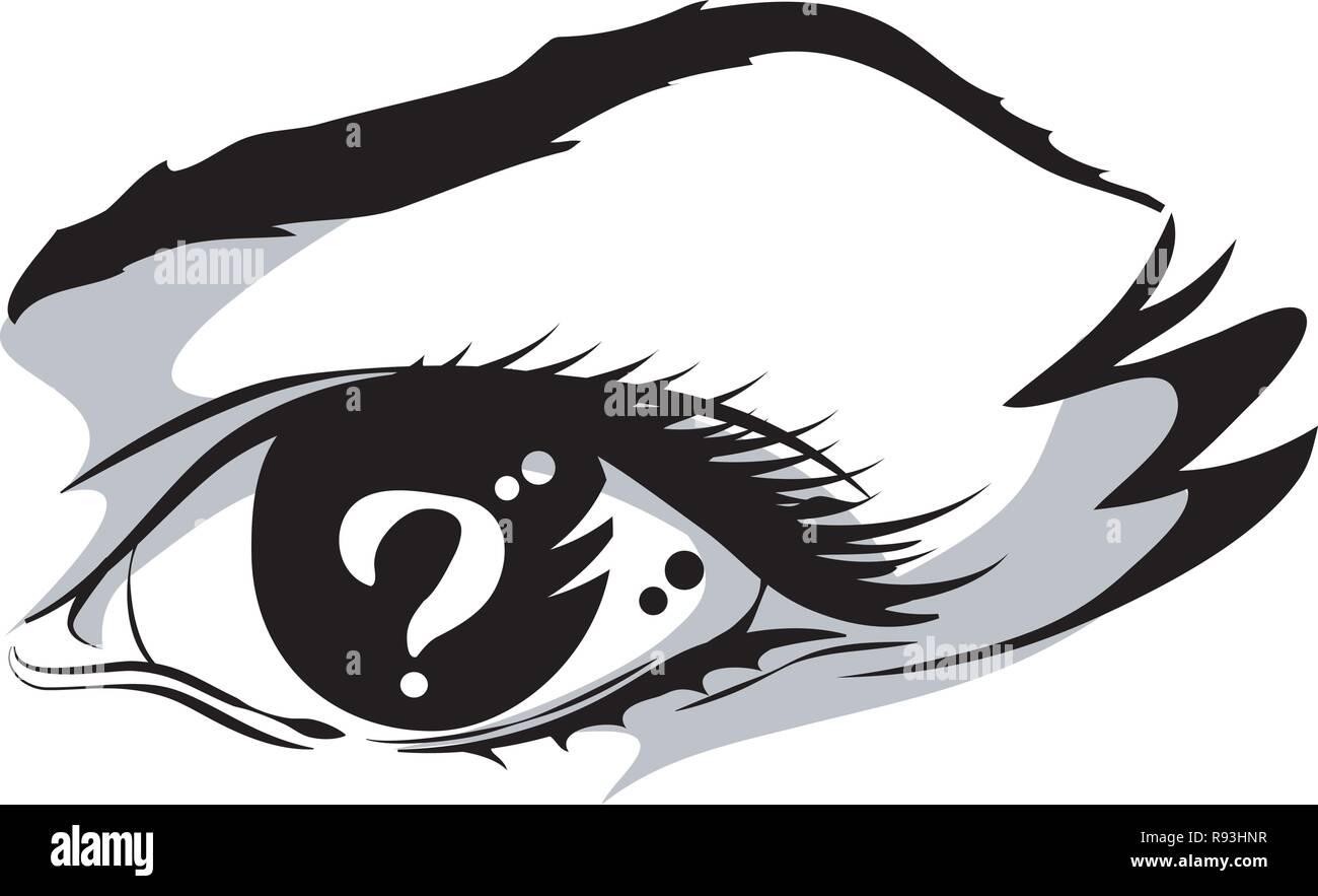 vector illustration of the eye with a question mark inside. graphics line art - Stock Vector
