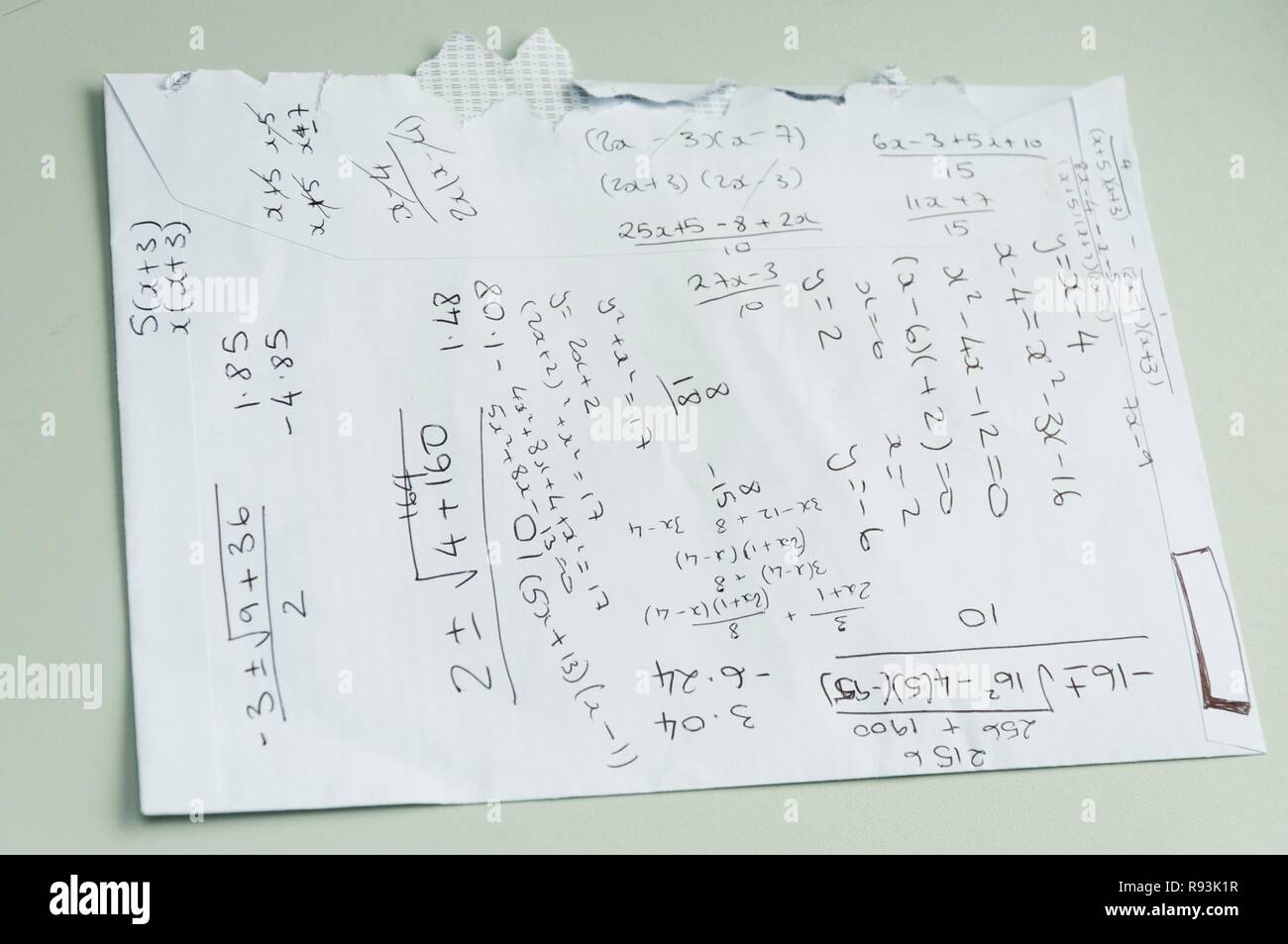 Calculations on the back of an envelope Stock Photo