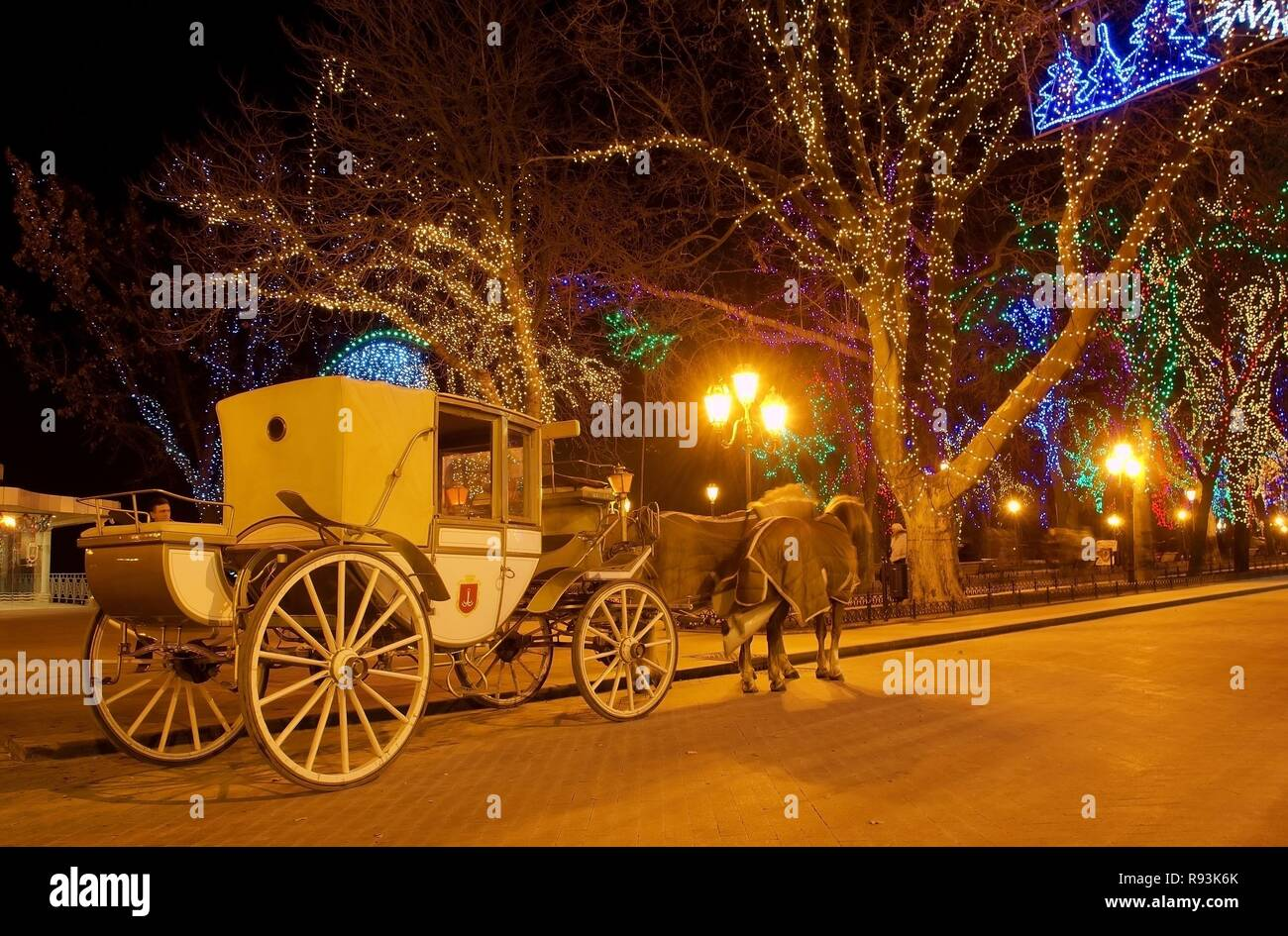 Horse Drawn Carriage And Christmas Decorations In Odessa At Night Odessa Odessa Oblast Ukraine Stock Photo Alamy