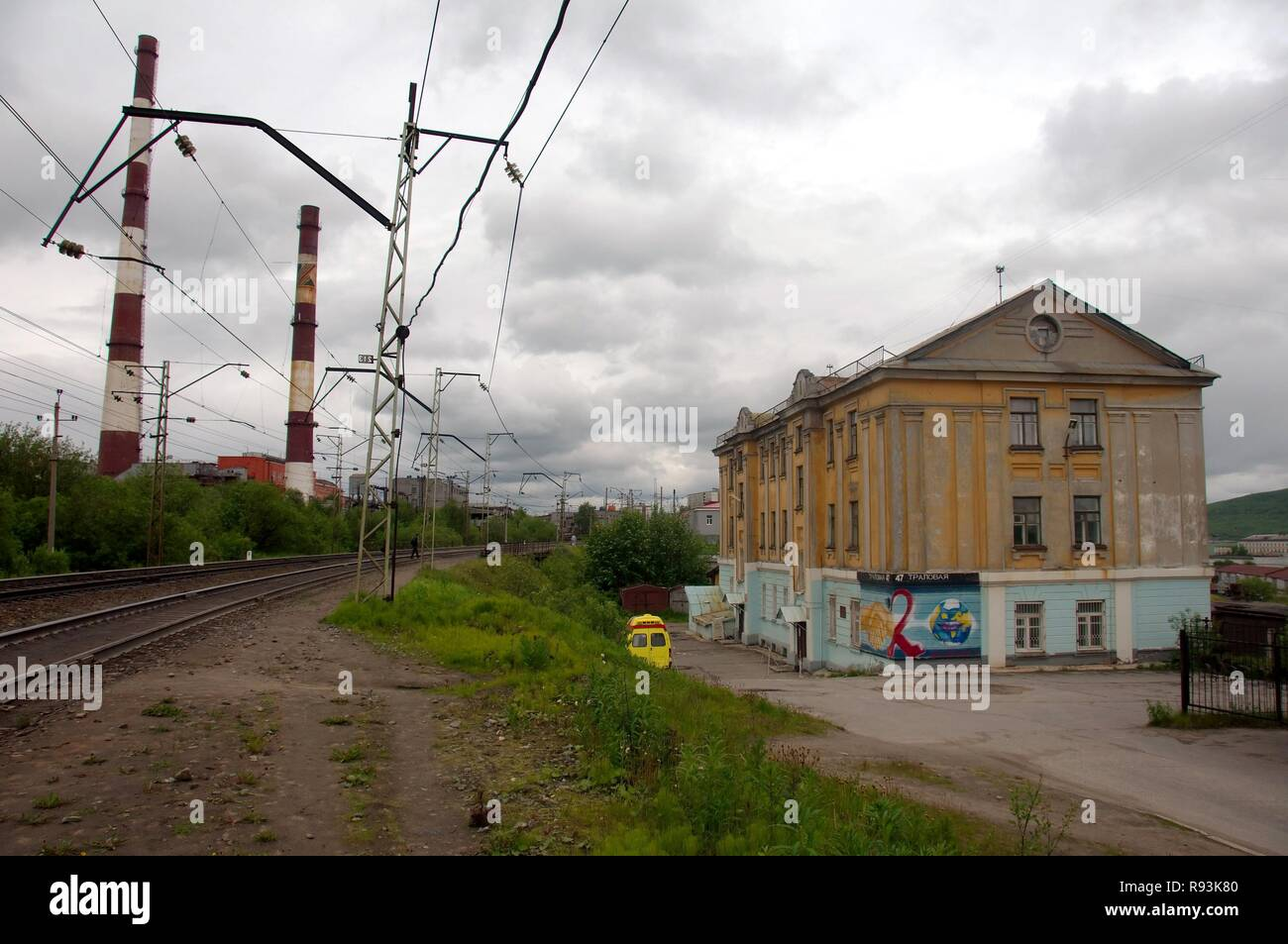 Murmansk railroad, Kirov Railway, Kola Peninsula, Arctic, Russia , Murmansk, Russia - Stock Image