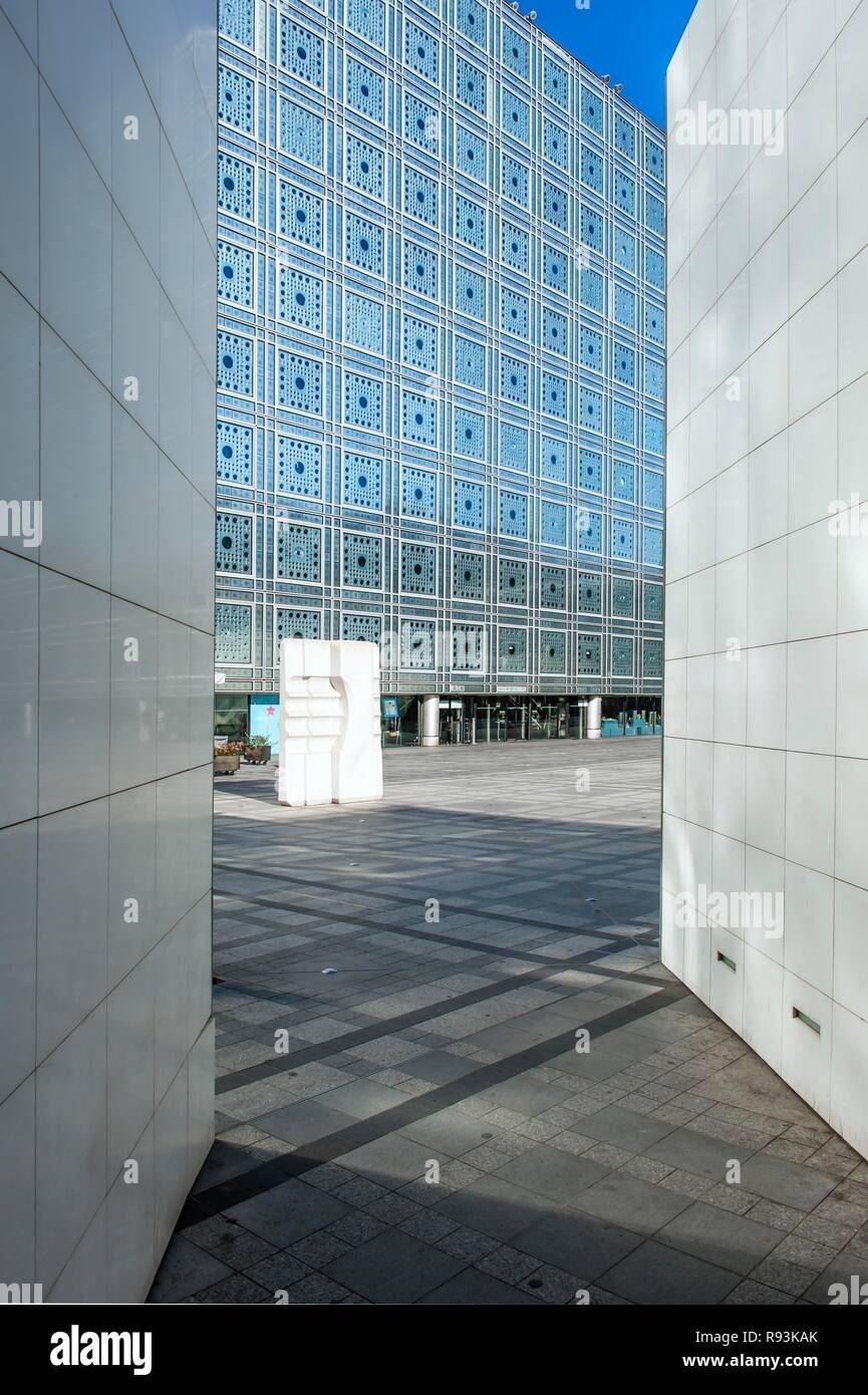 Arab World Institute, glass façade, Paris, France, Europe - Stock Image