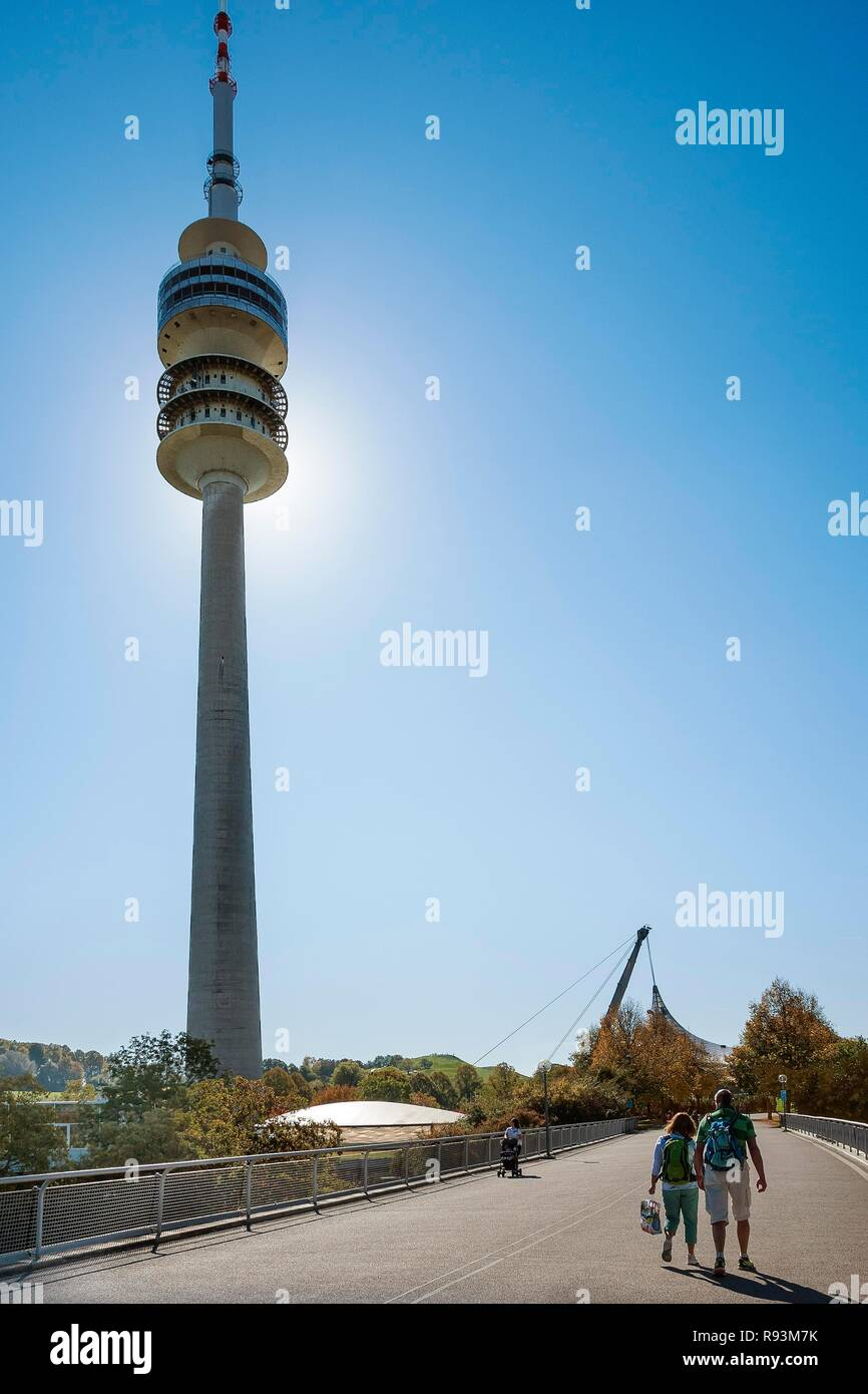 Olympic Park with television tower, Munich, Upper Bavaria, Bavaria, Germany - Stock Image