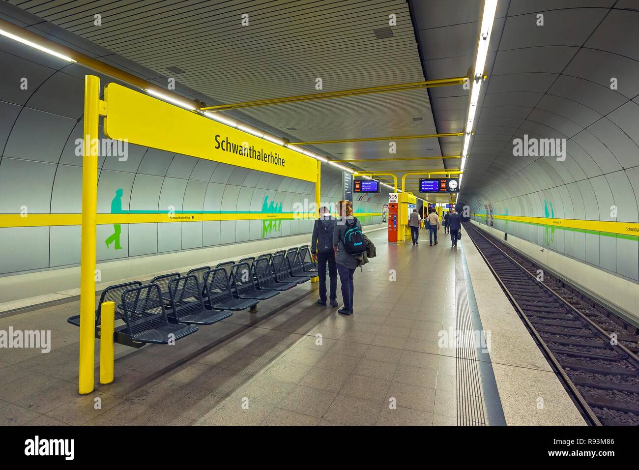 Underground station, Schwanthalerhöhe, Munich, Upper Bavaria, Bavaria, Germany - Stock Image