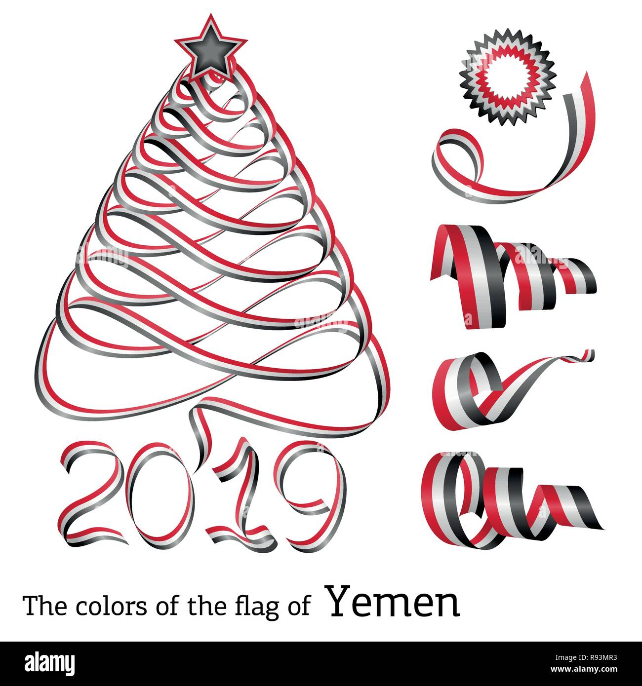 Ribbon in the shape of a Christmas tree with the colors of the flag of Yemen - Stock Image