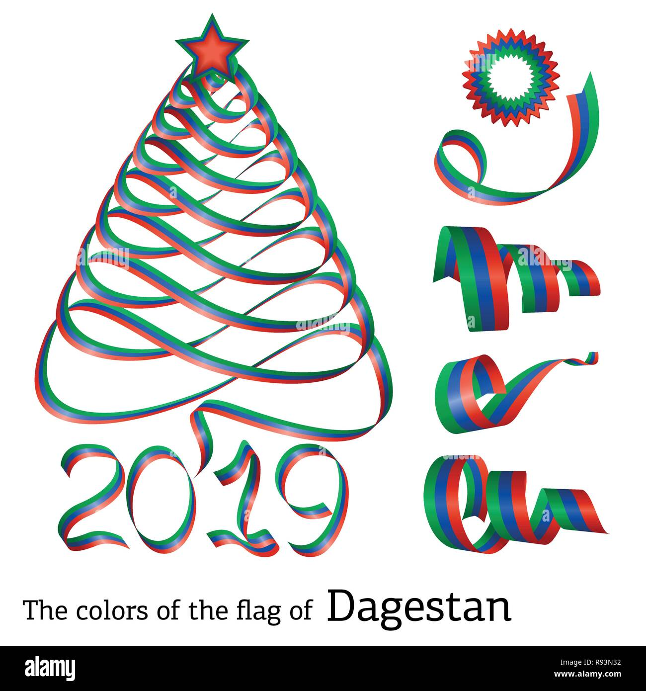 Ribbon In The Shape Of A Christmas Tree With The Colors Of The Flag Of Dagestan Stock Vector Image Art Alamy