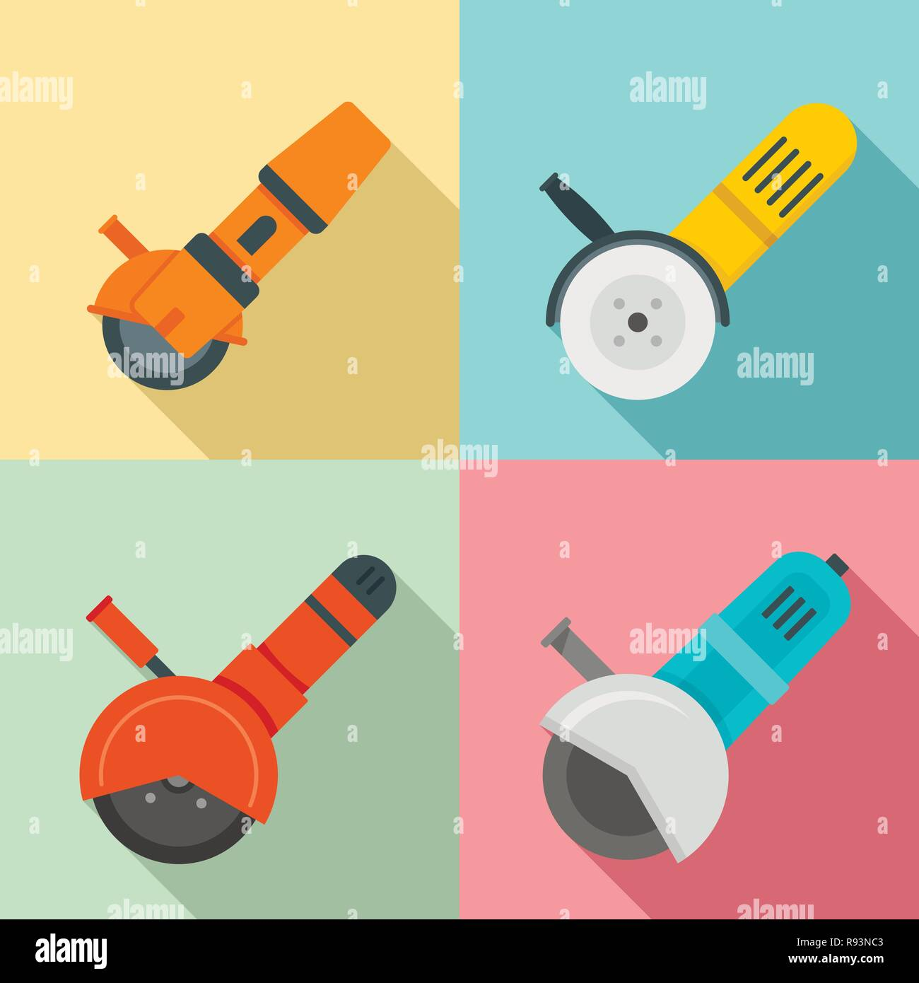 Angle grinder icon set. Flat set of angle grinder vector icons for web design - Stock Vector