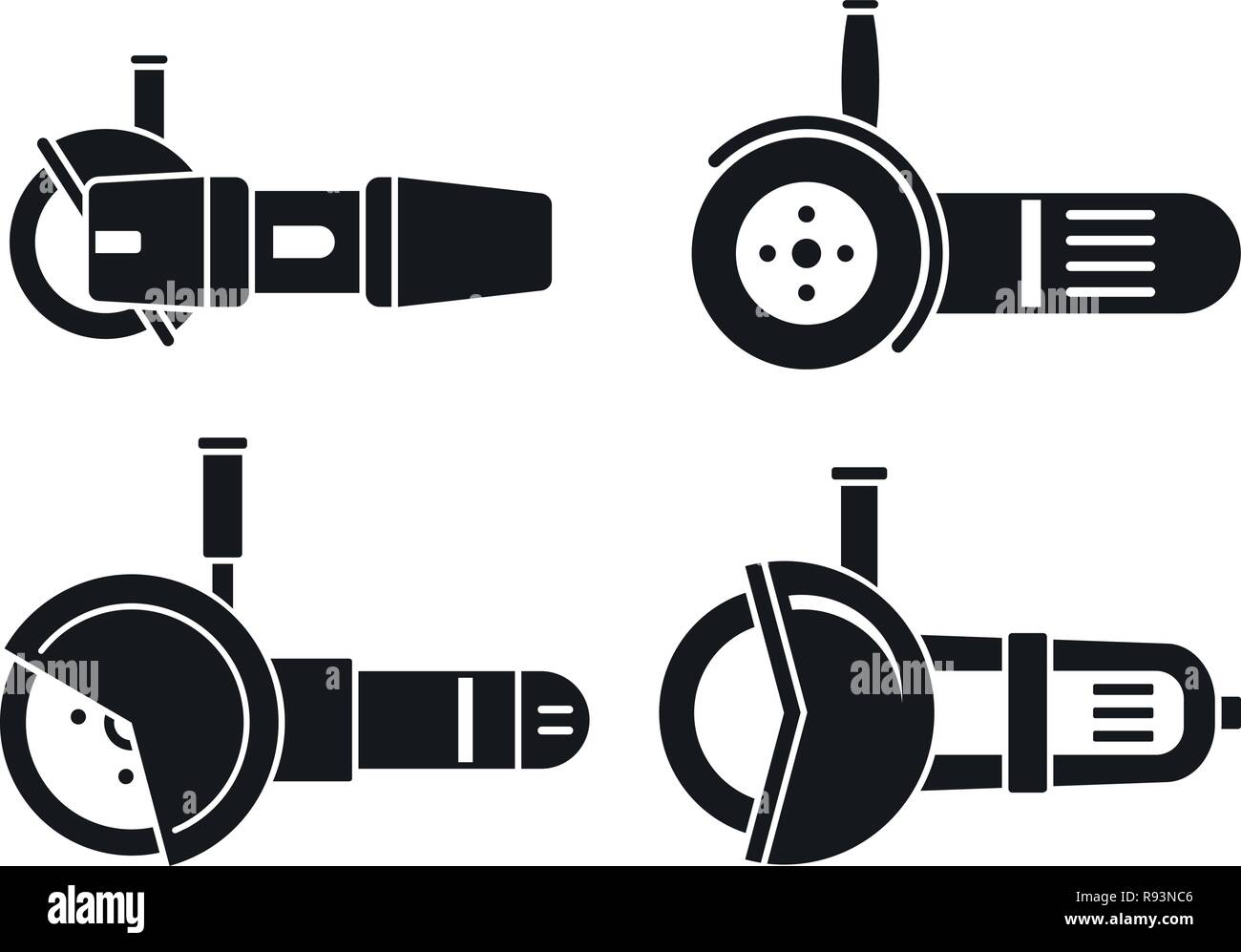Angle grinder tool icon set. Simple set of angle grinder tool vector icons for web design on white background - Stock Vector