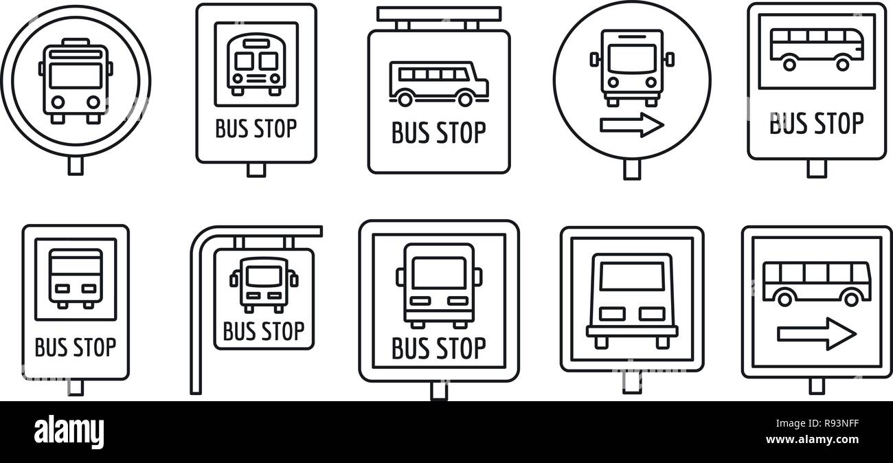 City bus stop sign icon set. Outline set of city bus stop sign vector icons for web design isolated on white background Stock Vector