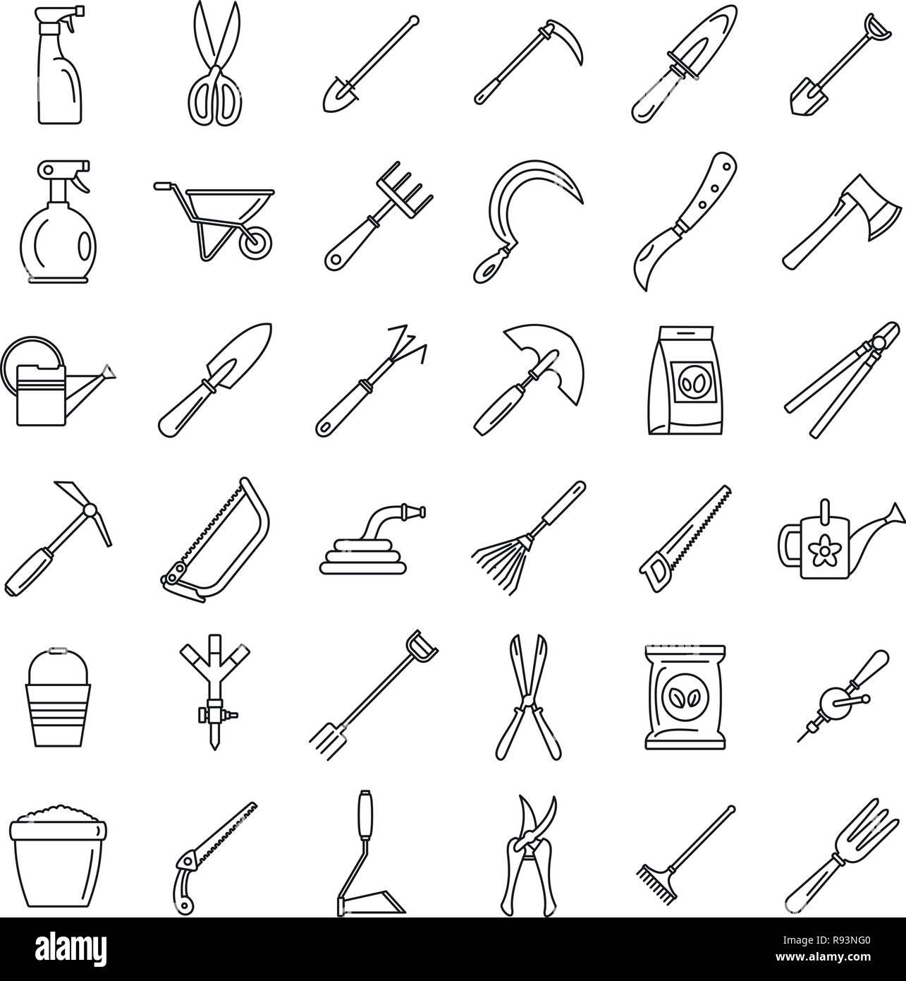 Farm gardening tools icon set. Outline set of farm gardening tools vector icons for web design isolated on white background Stock Vector