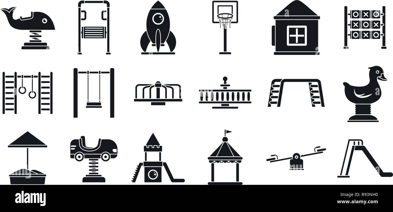 Outside kid playground icon set. Simple set of outside kid playground vector icons for web design on white background - Stock Vector