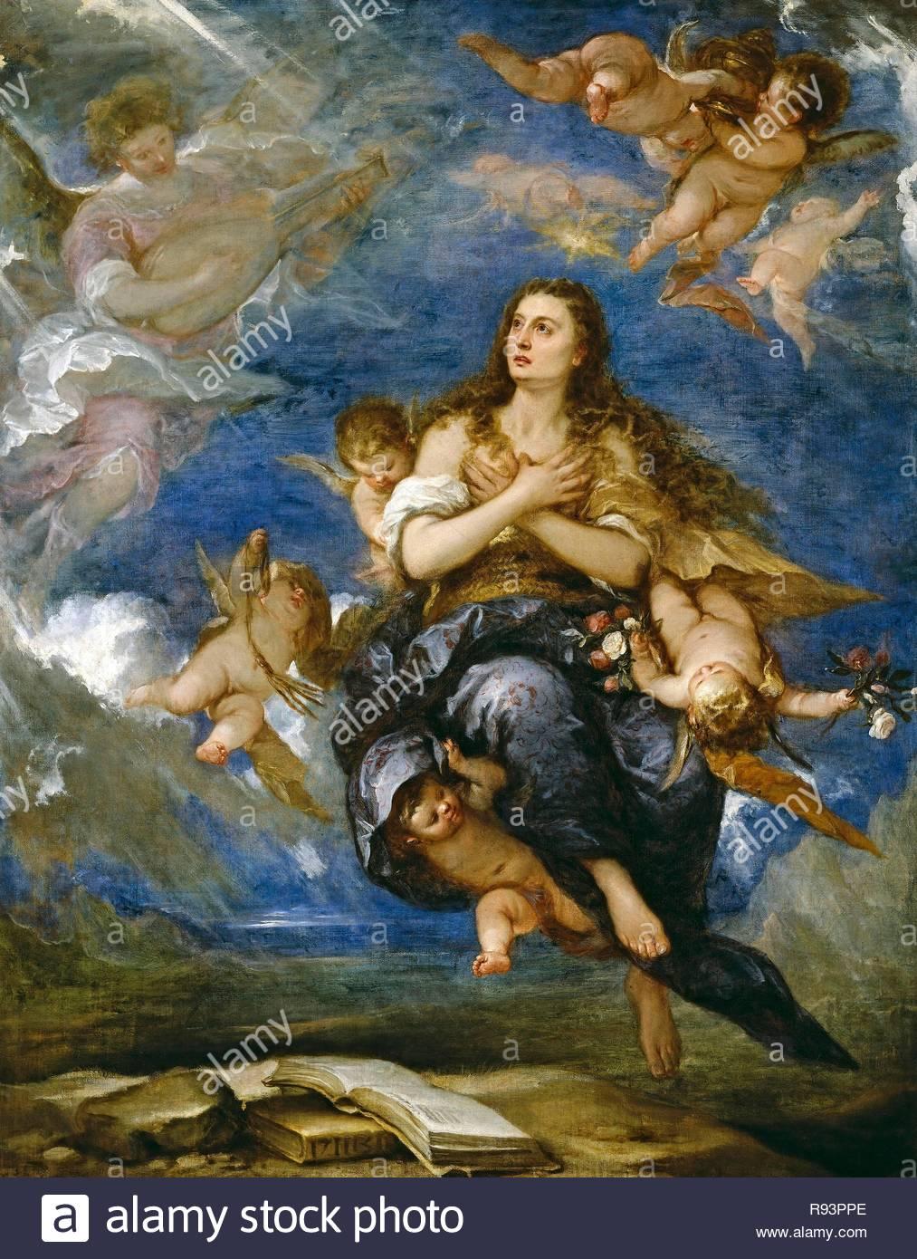 José Antolínez / 'The Death of Mary Magdelene', ca.  1672, Spanish School, Oil on canvas, 205 cm x 163 cm, P00591. Museum: MUSEO DEL PRADO. - Stock Image