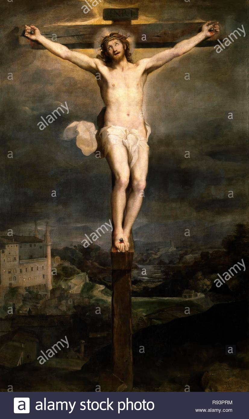 Federico Barocci / 'Christ on the Cross', 1604, Italian School, Oil on canvas, 374 cm x 246 cm, P07092. Museum: MUSEO DEL PRADO. - Stock Image