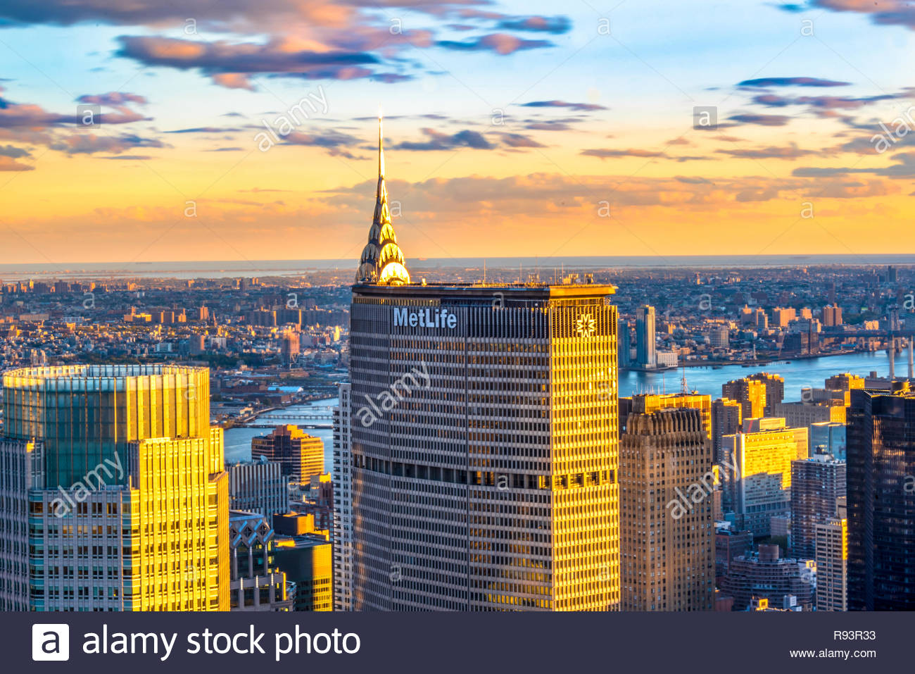 New York tours and attractions: Metlife building standing tall in the city scape of New York City, Unites States.  MetLife is among the largest global - Stock Image