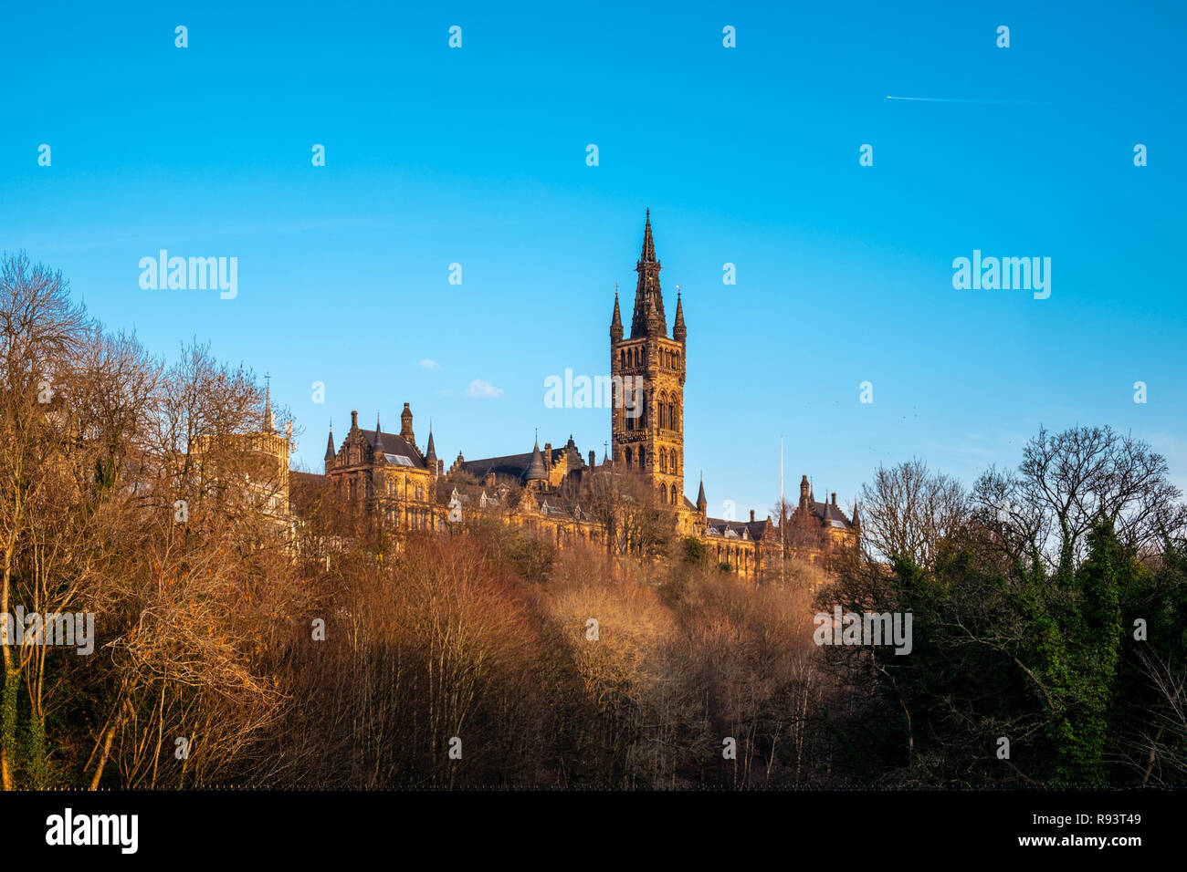 Looking through the trees to the majestic towers of the university of Glasgow in late afternoon sun. - Stock Image
