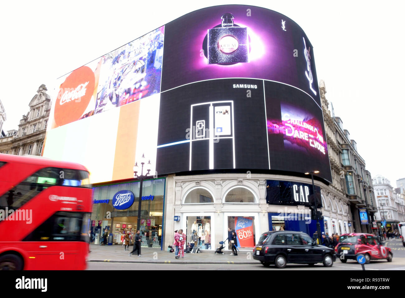 Updated LED technology advertising display in Piccadilly Circus, London Stock Photo