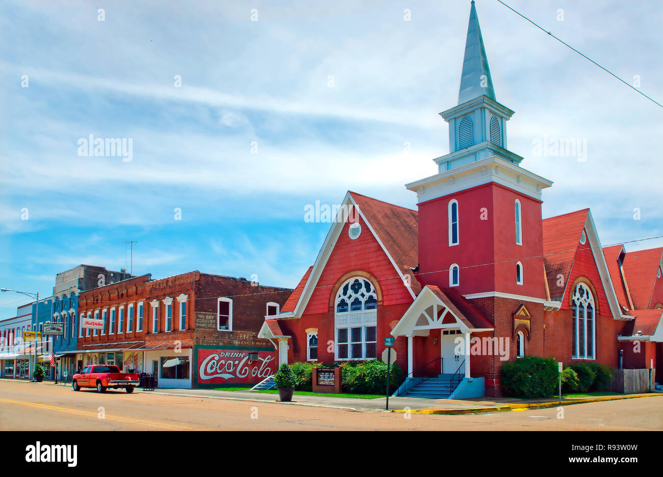 First Presbyterian Church, established in 1843, is located on Main Street in Water Valley, Mississippi. - Stock Image