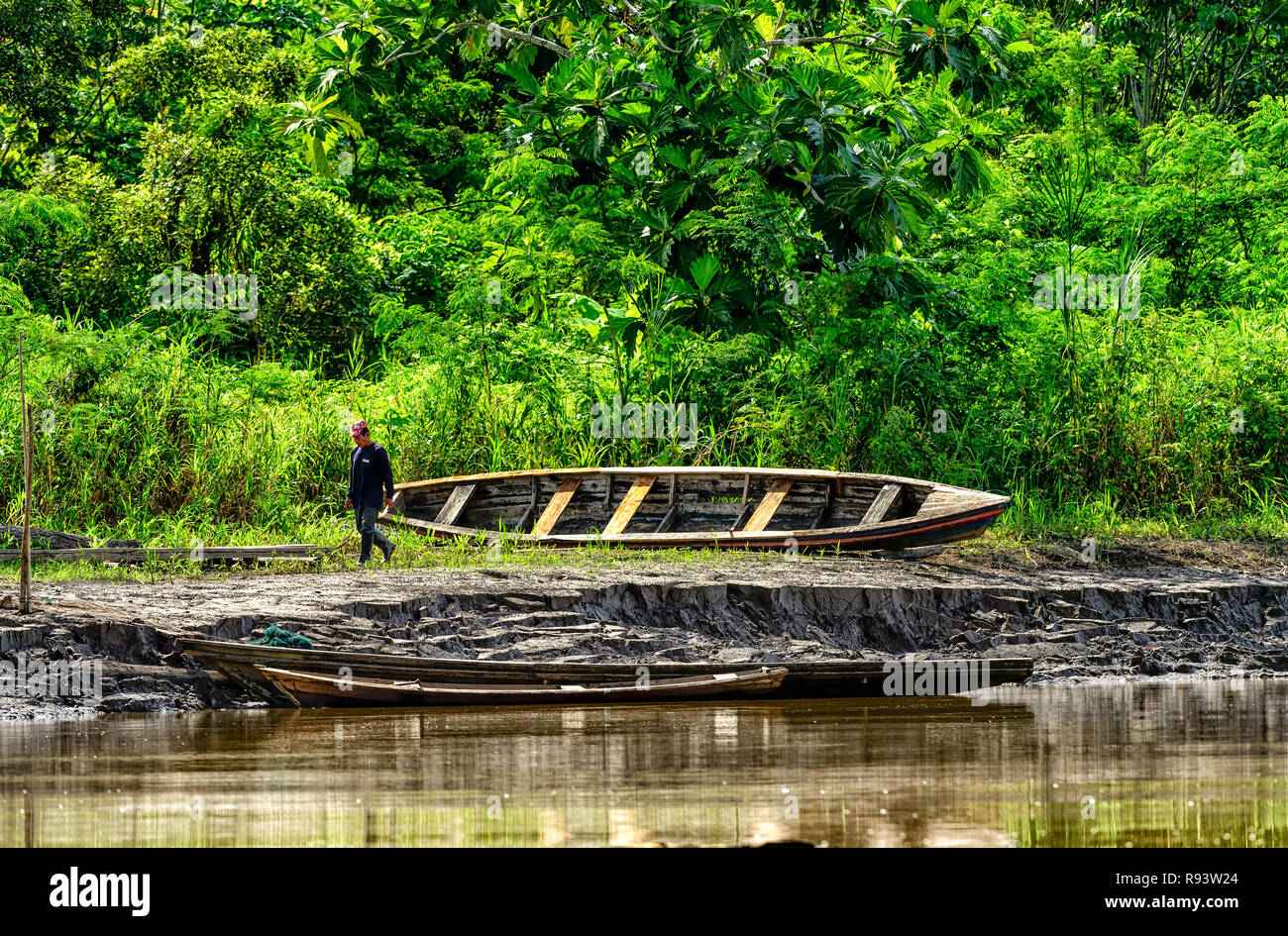 Repairing the Dugout Canoe on the Amazon River Bank - Stock Image