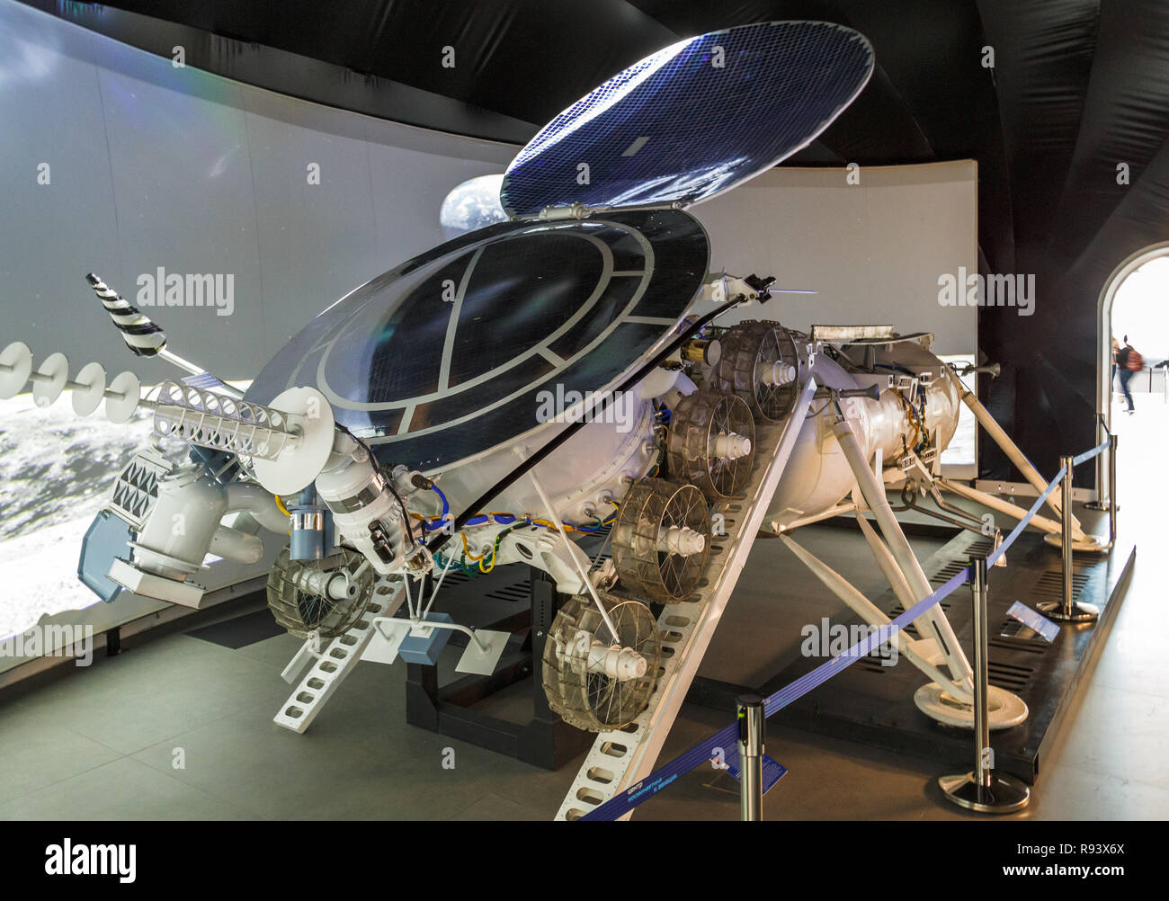 Moscow, Russia - November 28, 2018: Interior of the Space pavilion at VDNH. Lunokhod Moonwalker was a series of Soviet robotic lunar rovers designed t Stock Photo