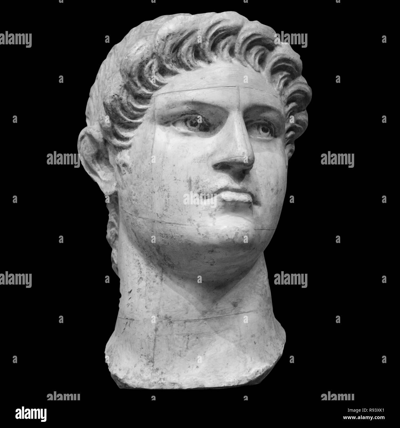 Portrait of roman emperor Nero Claudius Caesar Augustus Germanicus isolated on white background. - Stock Image