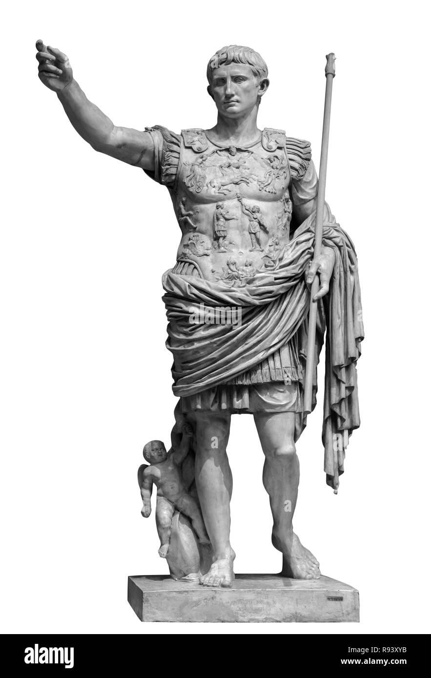 emperor augustus from prima porto statue isolated