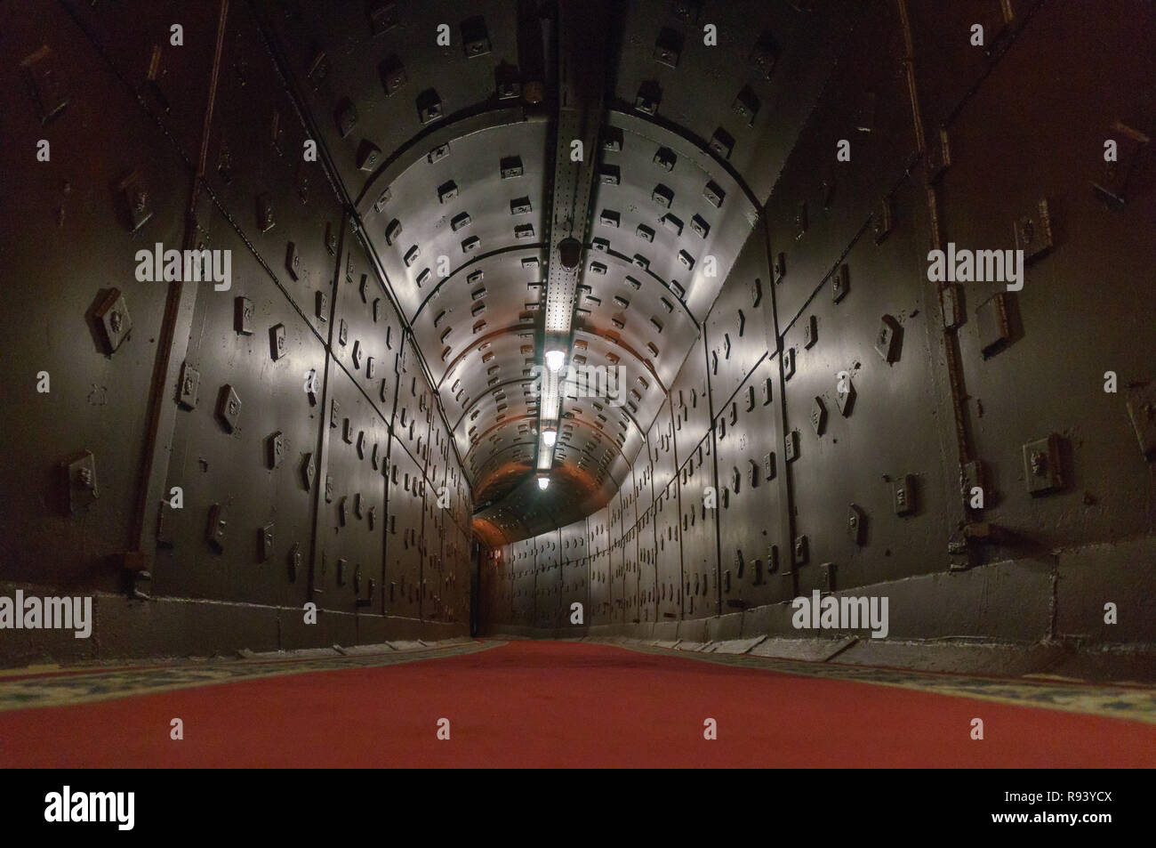 Moscow, Russia - October 25, 2017: Tunnel at Bunker-42, anti-nuclear underground facility built in 1956 as command post of strategic nuclear forces of - Stock Image