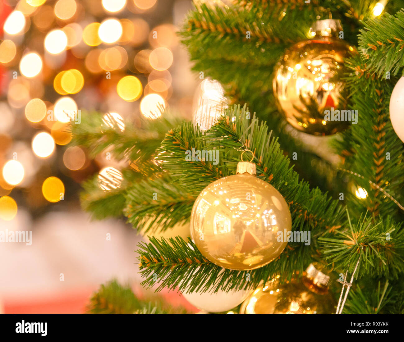 Christmas Scene With Tree Gifts And Fire In Background Stock Photo Alamy