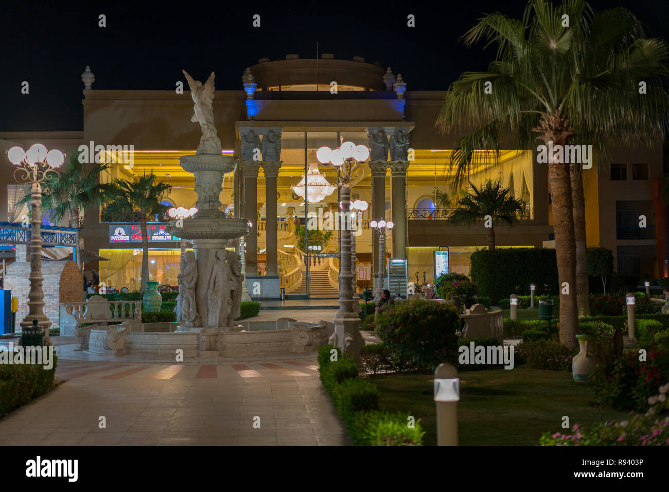 Hurghada Egypt November 19 2018 Luxury Resort With Pool At Night View Hotel Outdoor Landscape With Pool Night Pool Side Of Rich Hotel Stock Photo Alamy