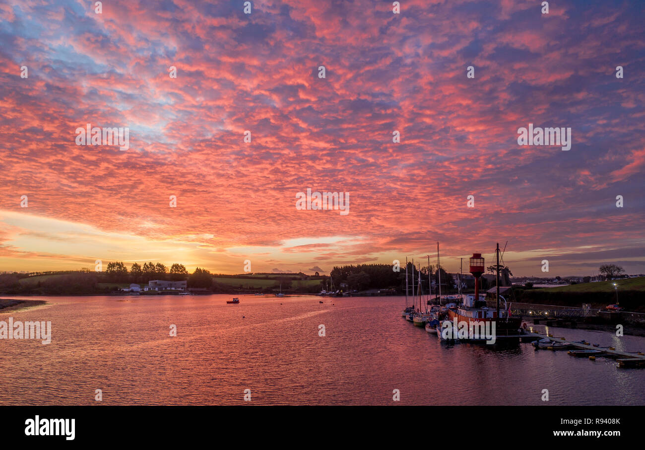 Red sky sunrise over Northern Ireland - Stock Image
