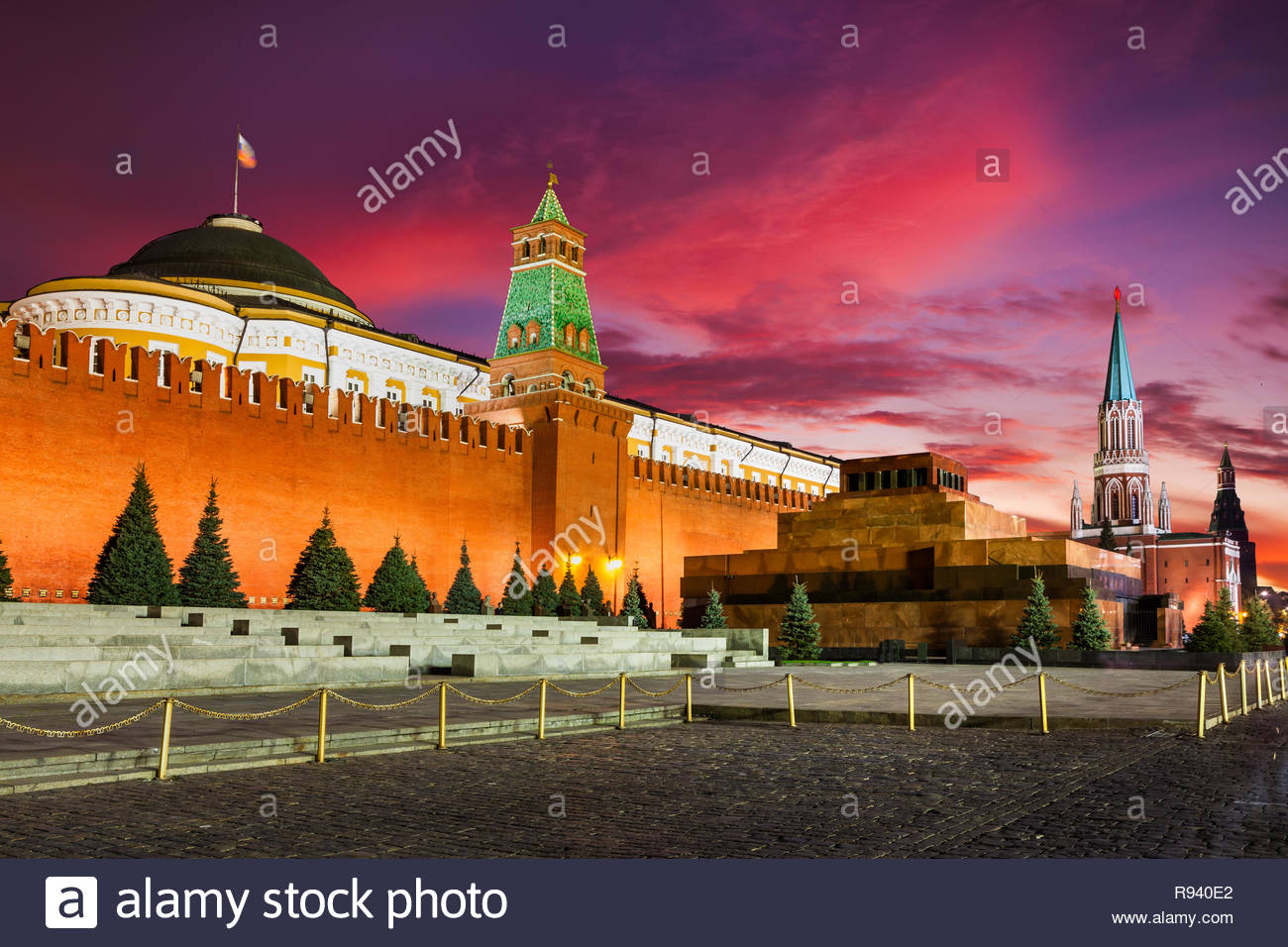 Sunset at Red Square, Moscow Kremlin and Lenin mausoleum, Moscow, Russia - Stock Image